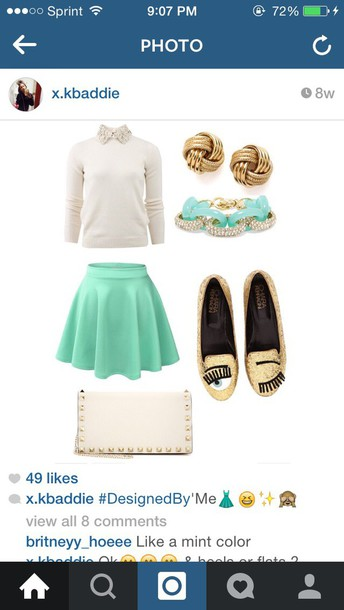 blouse off white shirts mint green skirt gold shoes