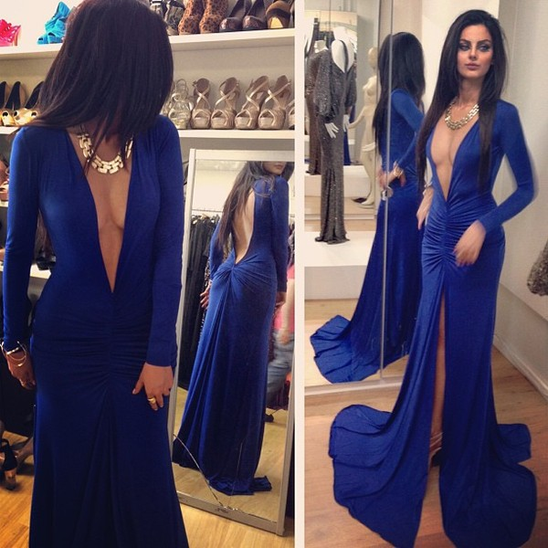 dress royal blue dress maxi dress v neck dress slit open back dresses