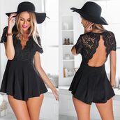 romper,black,lace,tumblr,open back,black romper