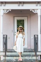 suburban faux-pas,blogger,hat,dress,sunglasses,jewels,bag,shoes,mules,white dress,midi dress,summer outfits