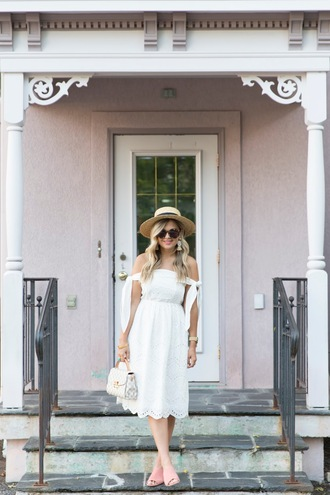 suburban faux-pas blogger hat dress sunglasses jewels bag shoes mules white dress midi dress summer outfits