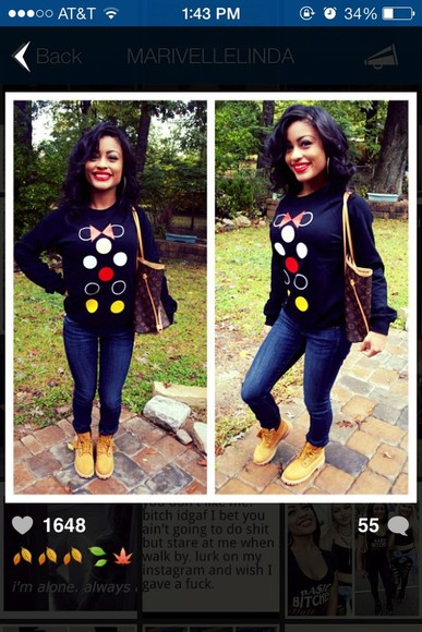 sweater black sweater minnie mouse