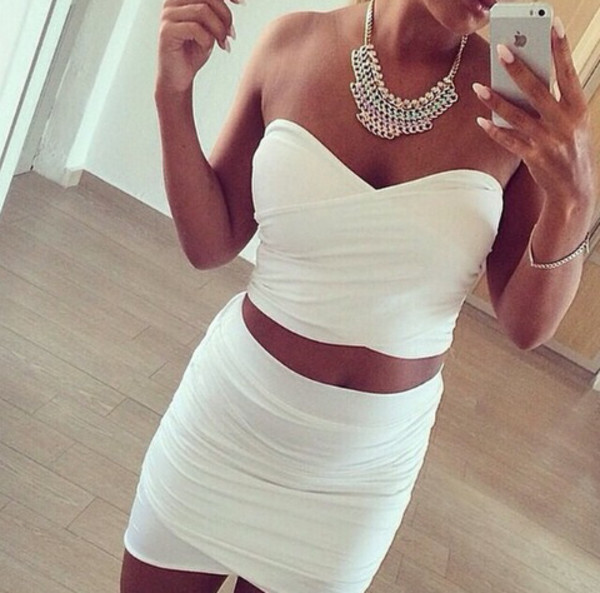 top skirt bandage white summer outfits crop tops shirt