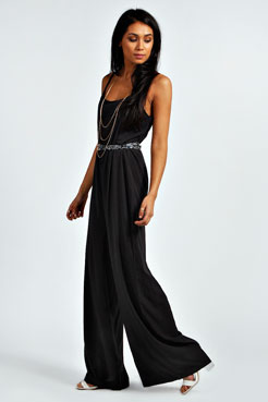 Lily Strappy Crepe Swing Jumpsuit at boohoo.com