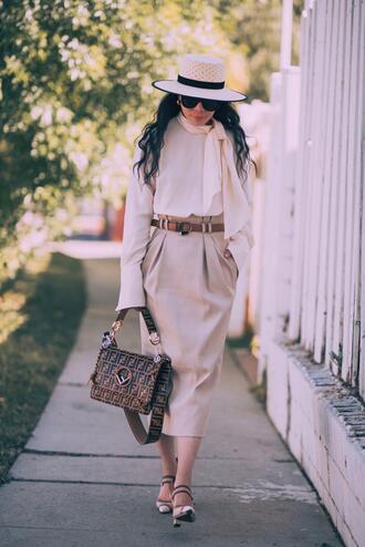hallie daily blogger blouse skirt sunglasses bag shoes hat midi skirt beige skirt spring outfits