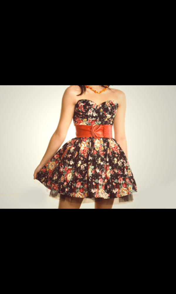 dress floral country cute black belt strapless summer skater