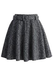 chicwish,twill skirt,grey belted skirt,skater skirt