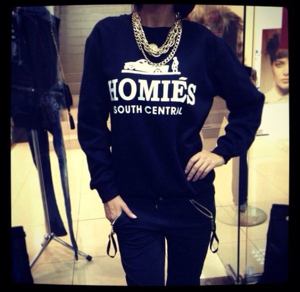 sweater homies pants jewels black jewelry