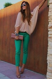 pants,green pants,shirt,jeans,white blouse,blouse,transparent,nude