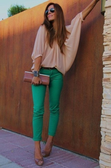 pants green pants shirt