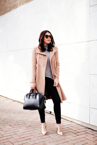 kendi everyday blogger camel coat givenchy bag