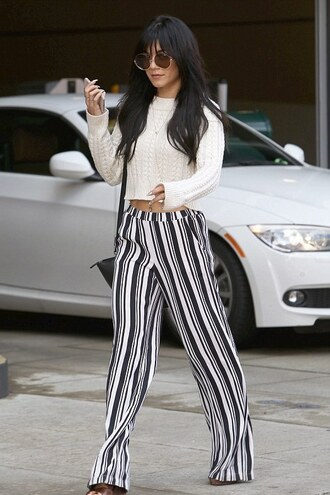 pants sunglasses vanessa hudgens stripes crop tops sweater striped pants