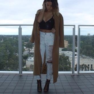 long coat kanye west nude jeans top bag