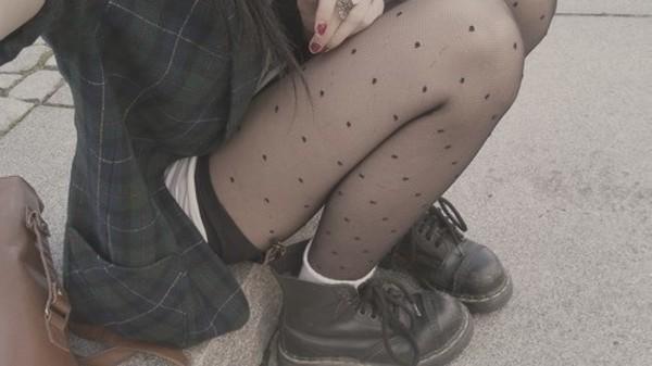 swimwear DrMartens girl vintage polka dot panty indie shirt shoes tights polka dots polka dots grunge