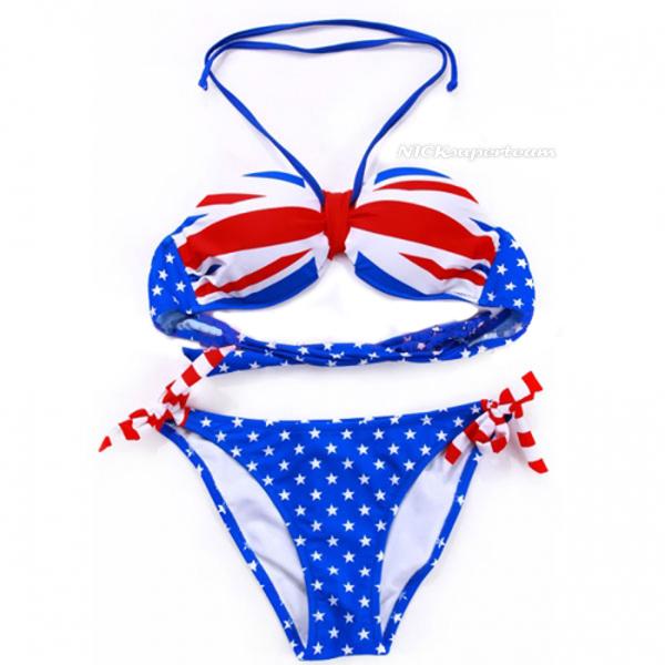 On sale sexy halter strap bikini swimwear dark blue british flag style m l xl