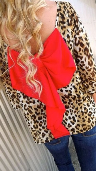blouse low cut back leopard, red, bow