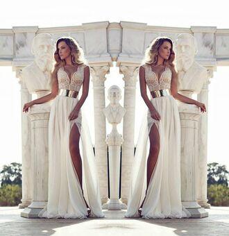 long prom dress gold belt lace top dress