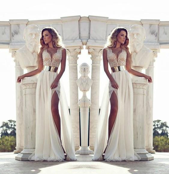 lace top dress long prom dress gold belt