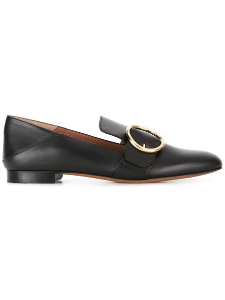 Bally women loafers leather black shoes