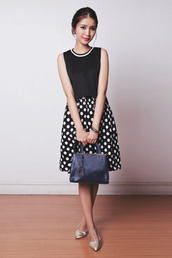 tricia gosingtian,blogger,top,bag,polka dots,black and white,office outfits