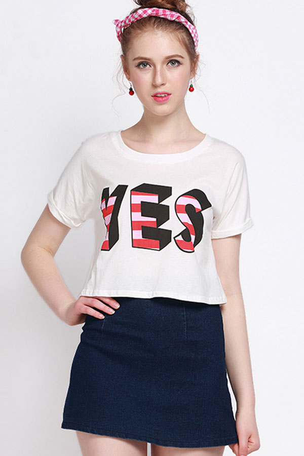 White Letters Print Short Sleeve Casual Tee