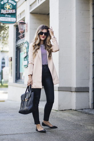 chicstreetstyle blogger jacket t-shirt jeans bag sunglasses jewels blazer nude jacket ballet flats handbag