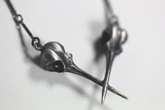 jewels skull silver necklace grey black strange goth mystic