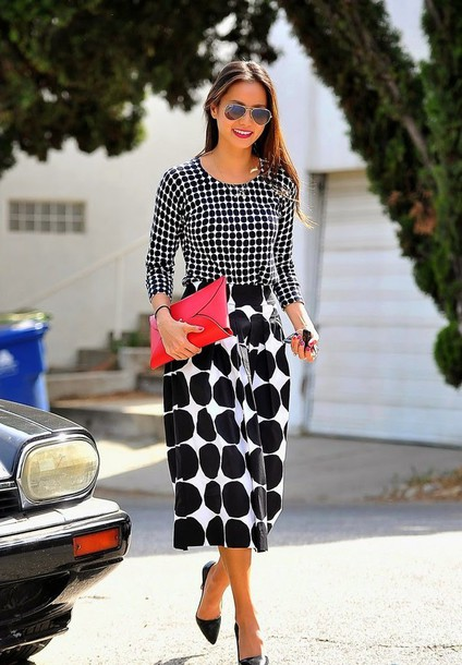 skirt top polka dots jamie chung midi skirt