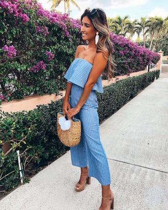 jumpsuit blue jumpsuit strapless strapless jumpsuit bag sandal heels sandals nude shoes earrings