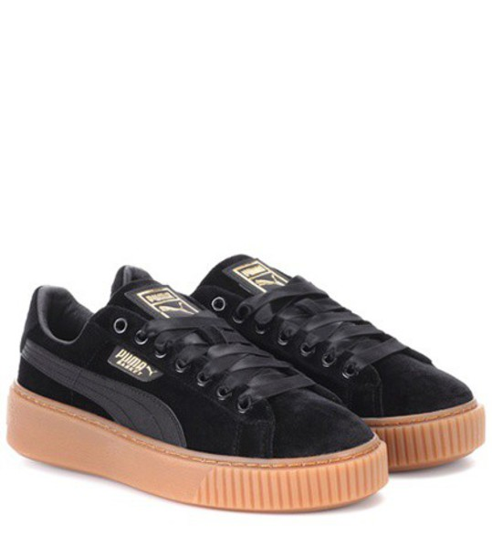 puma sneakers velvet black shoes