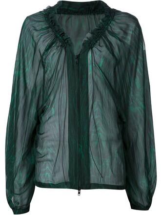 blouse sheer zip green top