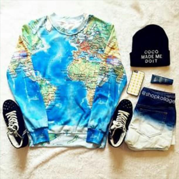 sweater earth map print multicolor