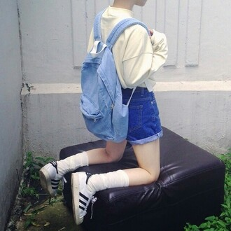 shirt adidas sneakers shorts bag grunge aesthetic tumblr sweater soft grunge long sleeves