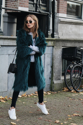 coat,tumblr,faux fur coat,blue coat,tirquoise,sunglasses,denim,jeans,black jeans,sneakers,white sneakers,low top sneakers,bag