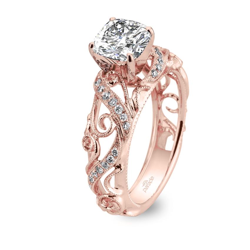 0.7ct. natural diamond cushion cut parade design hera bridal vintage inspired milgrain etched scrolls design 18k rose gold gia