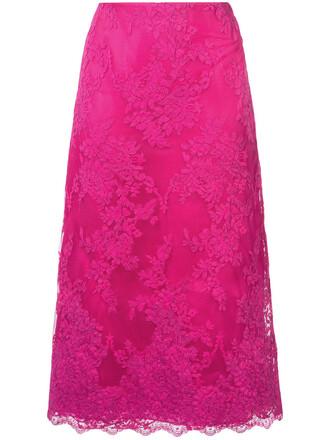 skirt lace skirt women midi lace cotton silk purple pink