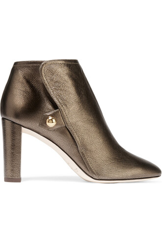 leather ankle boots metallic boots ankle boots leather bronze shoes