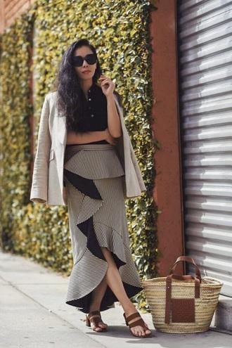 skirt maxi skirt grey skirt asymmetrical ruffle skirt blazer shoes bag asymmetrical skirt ruffle sandals