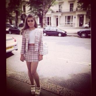 two piece sets pink skirt pink blazer