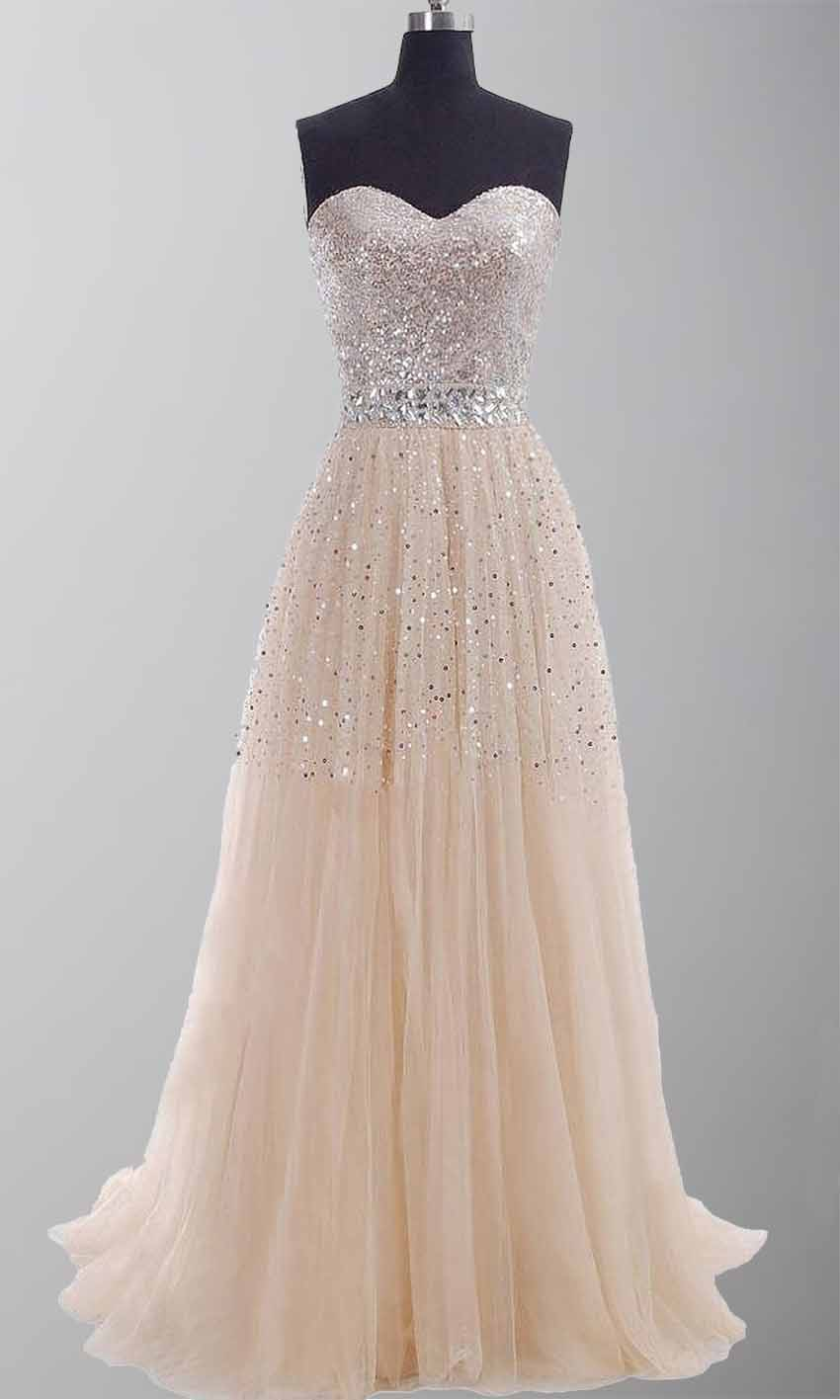 Champagne Sequin Sweetheart Long Prom Gowns KSP254 [KSP254 ...