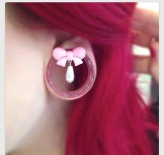 jewels pink bows ear plug bows