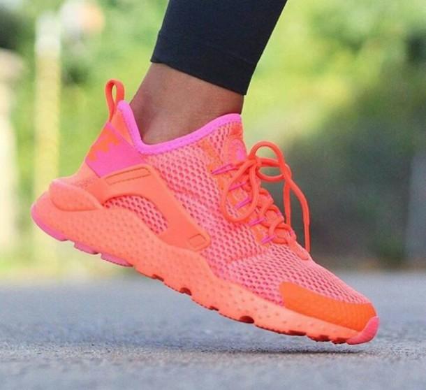 shoes coral sneakers nike huarache
