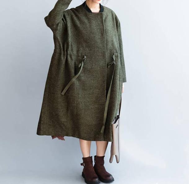 coat winter coat army green oversize coat