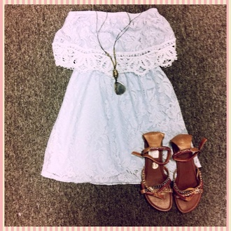 dress white dress strapless lace sundress