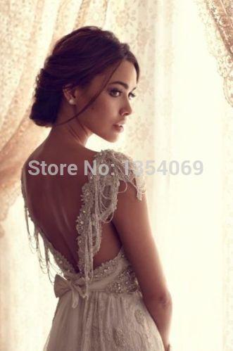 2014 new a line sexy beading v neck backless court train white/ivory floor length wedding dress bridal dress custom made rh254