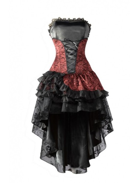 dress red damask lace up prom dress