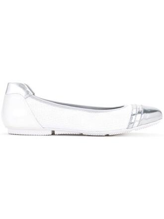 metallic women flats leather white shoes