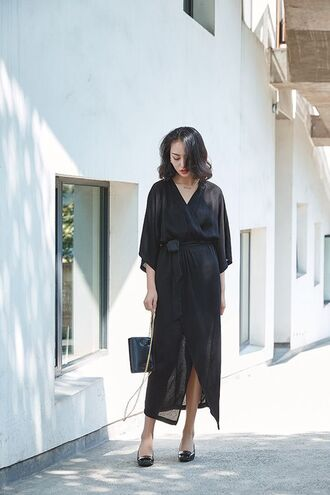 dress black midi dress midi dress wrap dress black dress slit dress three-quarter sleeves mesh mesh dress flats black flats bag black bag all black everything