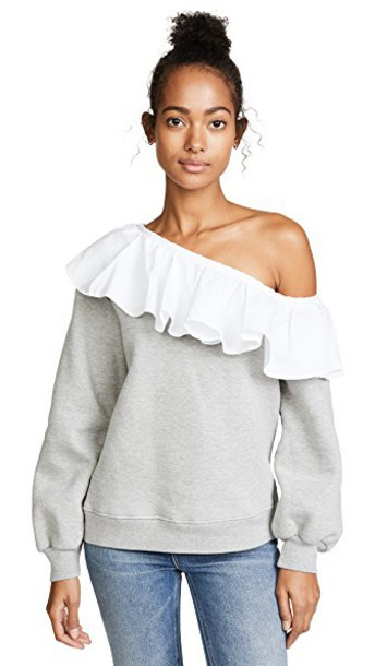 CLU sweatshirt white grey heather grey sweater