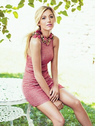 dress blake lively pink dress short dress bodycon dress